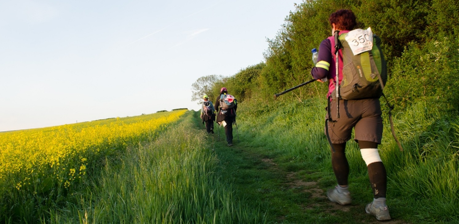 Picture of a group of hikers taking on the London to Brighton Ultra Challenge.