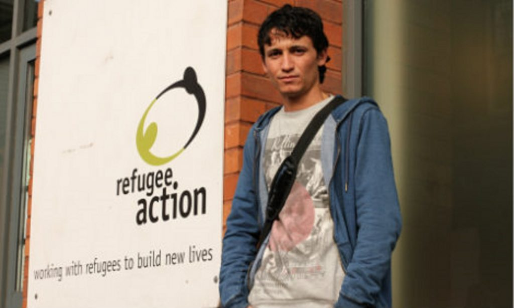 Photo of Syamend, a refugee from Syria, outside the Refugee Action office