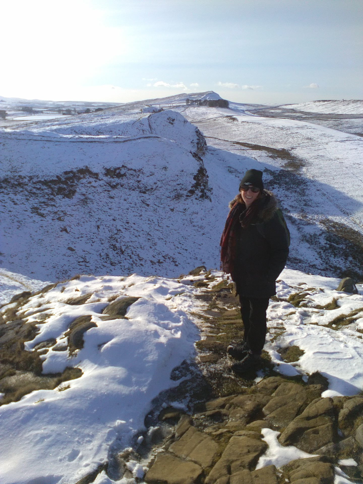 Kim and Andrew crossed Hadrian's Wall, through mud and snow to raise money for Refugee Action.
