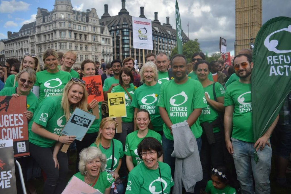 Picture of a group of Refugee Action supporters at the Solidarity with Refugees march in London