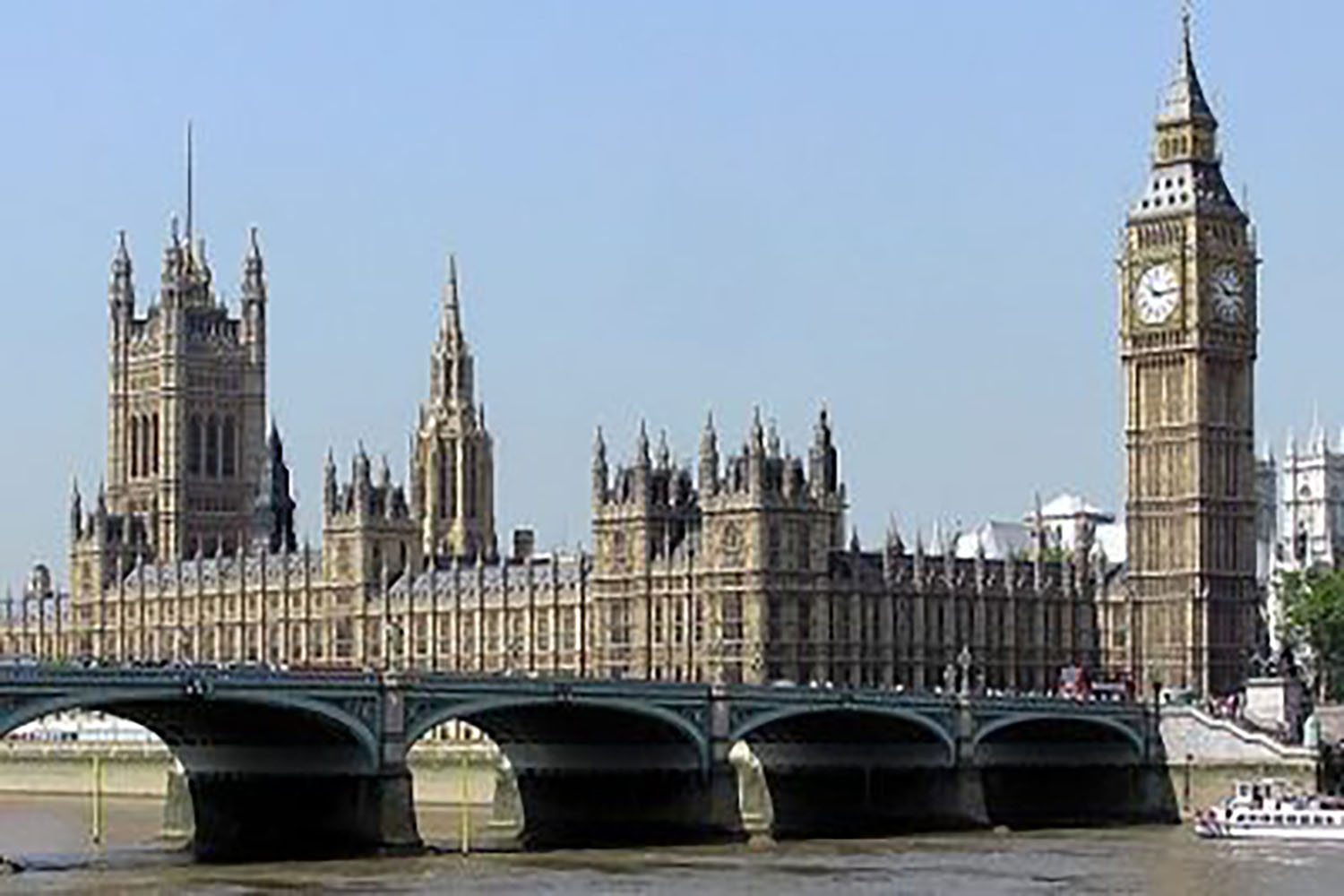 Photo of Westminster with bridge in foreground and Big Ben on the right